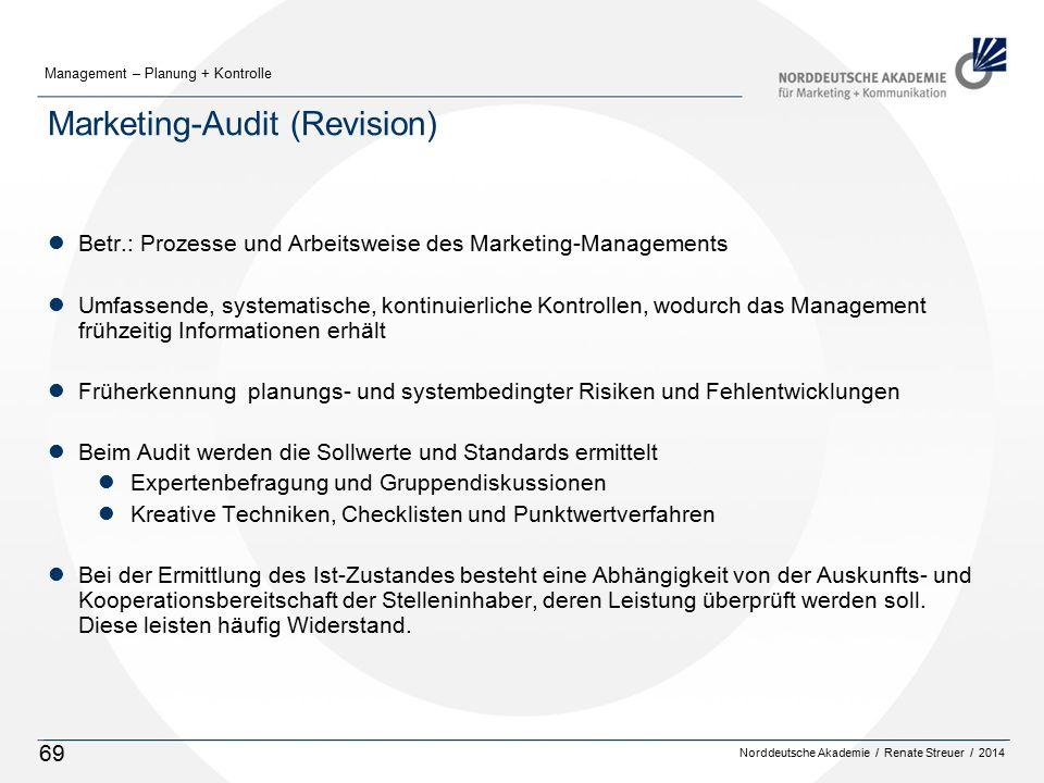 Norddeutsche Akademie / Renate Streuer / 2014 Management – Planung + Kontrolle 69 Marketing-Audit (Revision) lBetr.: Prozesse und Arbeitsweise des Mar