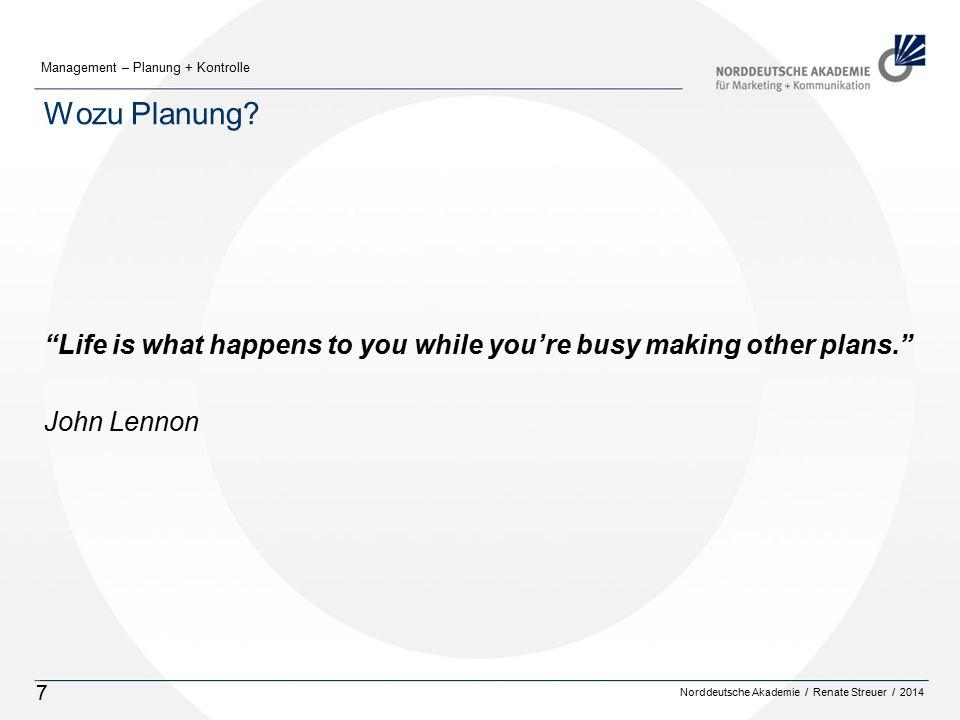 Norddeutsche Akademie / Renate Streuer / 2014 Management – Planung + Kontrolle 7 Wozu Planung.