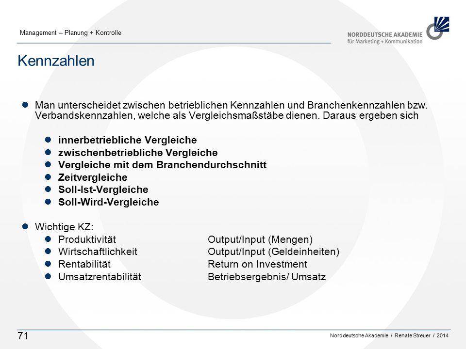 Norddeutsche Akademie / Renate Streuer / 2014 Management – Planung + Kontrolle 71 Kennzahlen lMan unterscheidet zwischen betrieblichen Kennzahlen und Branchenkennzahlen bzw.