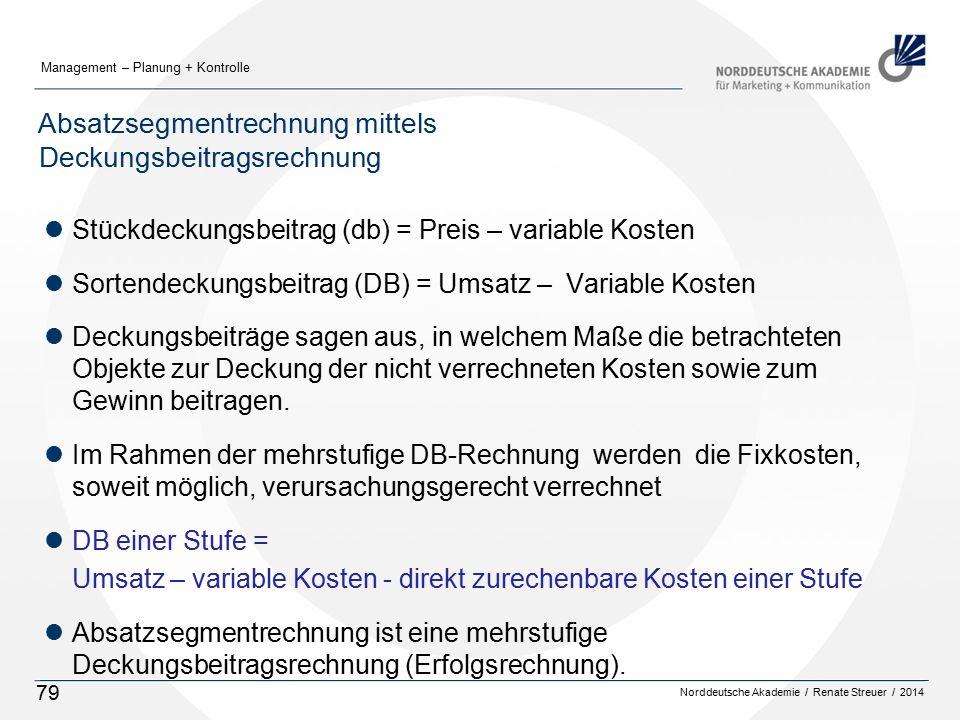 Norddeutsche Akademie / Renate Streuer / 2014 Management – Planung + Kontrolle 79 Absatzsegmentrechnung mittels Deckungsbeitragsrechnung lStückdeckung