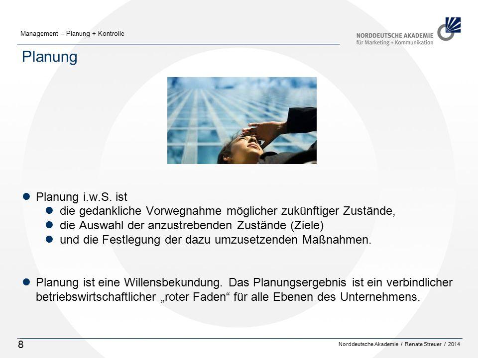Norddeutsche Akademie / Renate Streuer / 2014 Management – Planung + Kontrolle 8 Planung lPlanung i.w.S. ist ldie gedankliche Vorwegnahme möglicher zu