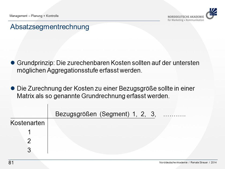 Norddeutsche Akademie / Renate Streuer / 2014 Management – Planung + Kontrolle 81 Absatzsegmentrechnung lGrundprinzip: Die zurechenbaren Kosten sollten auf der untersten möglichen Aggregationsstufe erfasst werden.