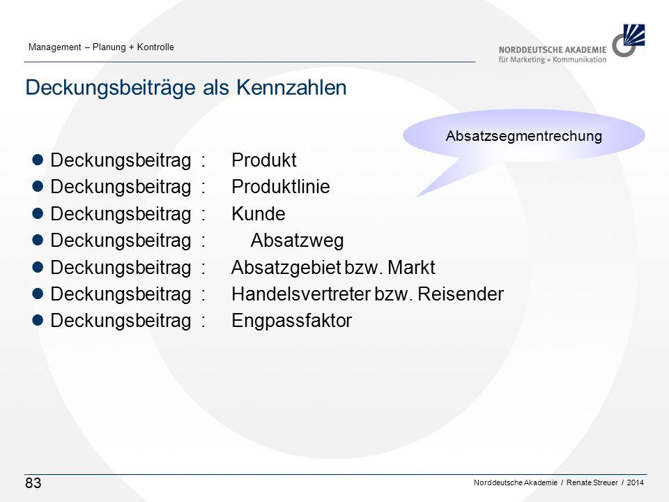 Norddeutsche Akademie / Renate Streuer / 2014 Management – Planung + Kontrolle 83 Deckungsbeiträge als Kennzahlen lDeckungsbeitrag : Produkt lDeckungsbeitrag : Produktlinie lDeckungsbeitrag : Kunde lDeckungsbeitrag : Absatzweg lDeckungsbeitrag : Absatzgebiet bzw.