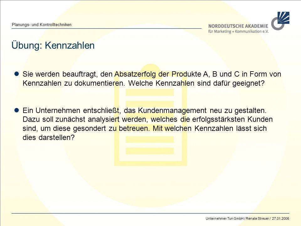 Norddeutsche Akademie / Renate Streuer / 2014 Management – Planung + Kontrolle 85 Übung: Kennzahlen Planungs- und Kontrolltechniken Sie werden beauftragt, den Absatzerfolg der Produkte A, B und C in Form von Kennzahlen zu dokumentieren.
