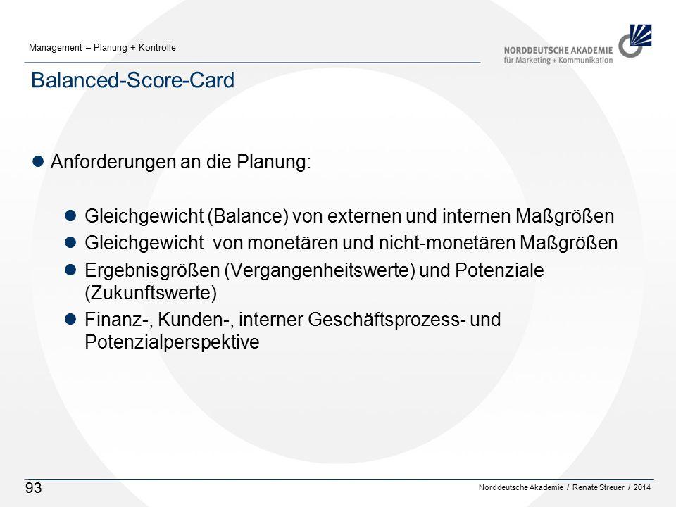 Norddeutsche Akademie / Renate Streuer / 2014 Management – Planung + Kontrolle 93 Balanced-Score-Card lAnforderungen an die Planung: lGleichgewicht (Balance) von externen und internen Maßgrößen lGleichgewicht von monetären und nicht-monetären Maßgrößen lErgebnisgrößen (Vergangenheitswerte) und Potenziale (Zukunftswerte) lFinanz-, Kunden-, interner Geschäftsprozess- und Potenzialperspektive