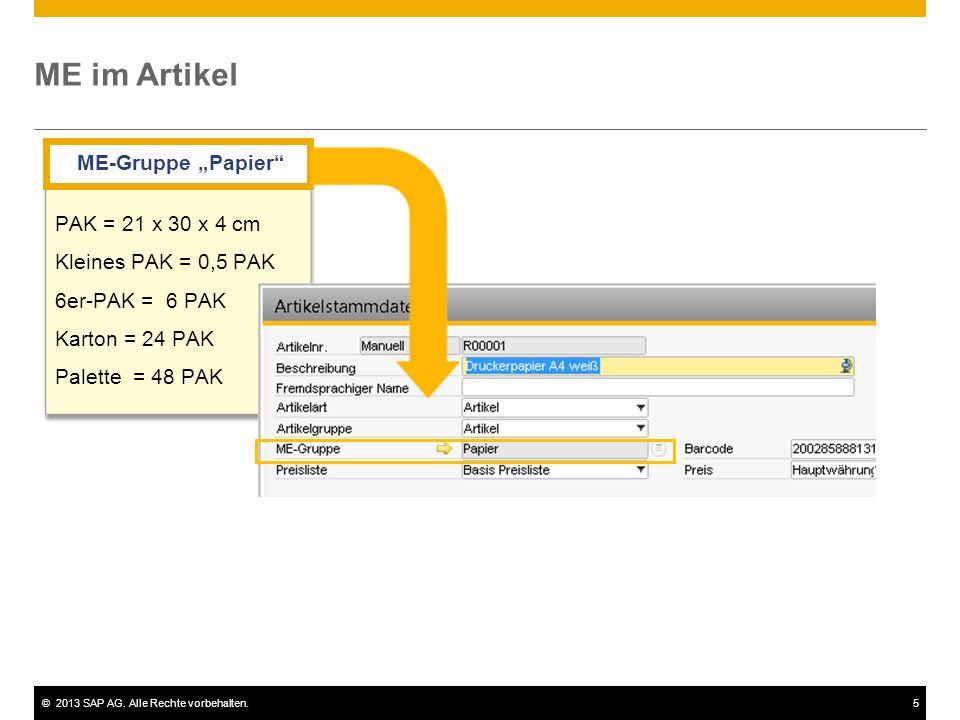 ©2013 SAP AG.Alle Rechte vorbehalten.6 Gruppieren von Mengeneinheiten Stück Liter Packung Kl.