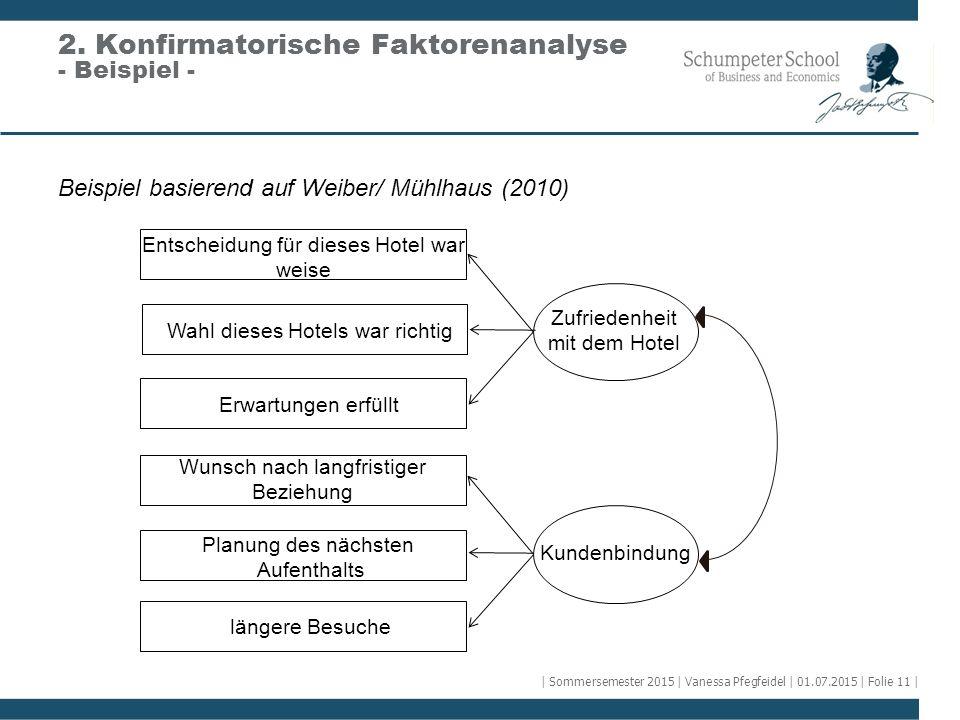 Beispiel basierend auf Weiber/ Mühlhaus (2010) 2. Konfirmatorische Faktorenanalyse - Beispiel - Wahl dieses Hotels war richtig Erwartungen erfüllt Ent