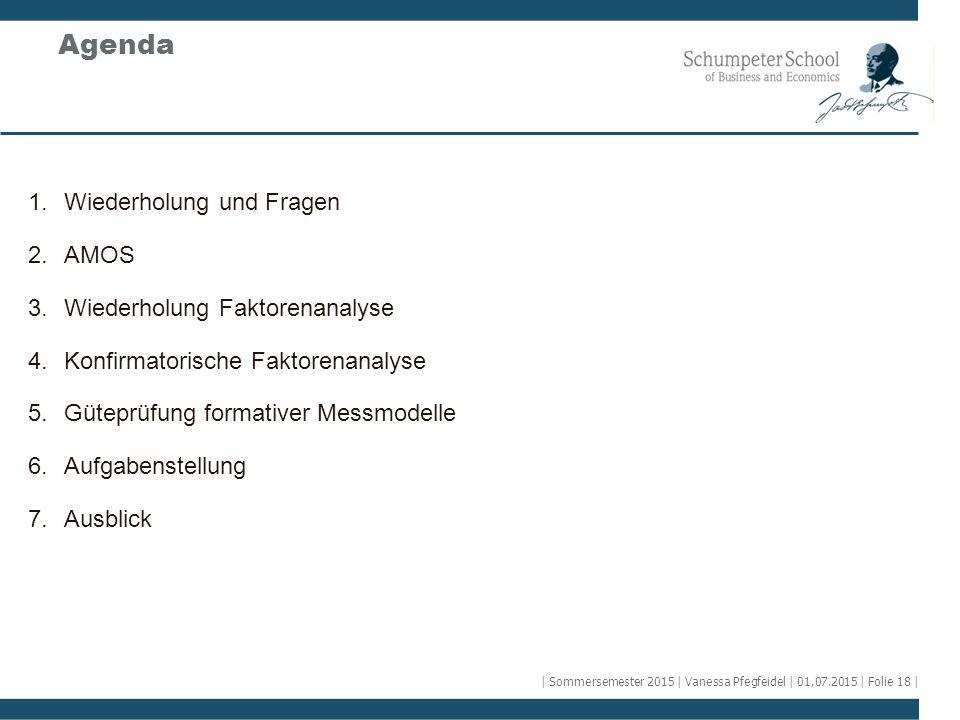 Agenda 1.Wiederholung und Fragen 2.AMOS 3.Wiederholung Faktorenanalyse 4.Konfirmatorische Faktorenanalyse 5.Güteprüfung formativer Messmodelle 6.Aufga
