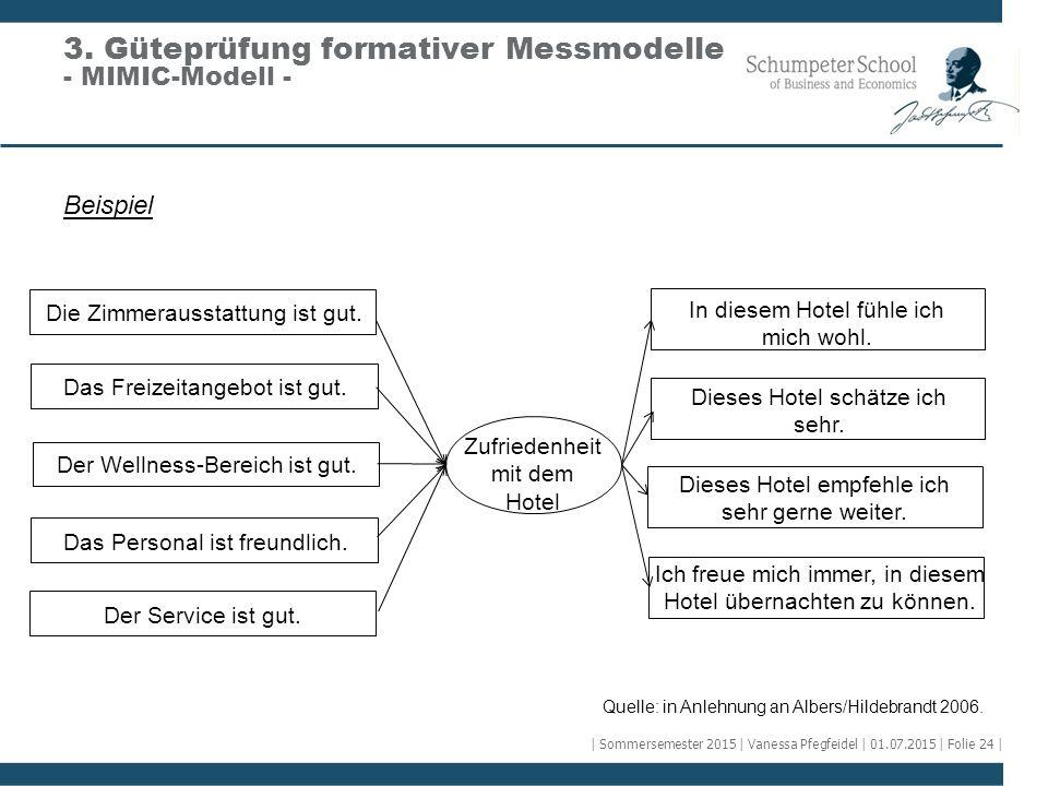 Beispiel 3. Güteprüfung formativer Messmodelle - MIMIC-Modell - Die Zimmerausstattung ist gut. Das Freizeitangebot ist gut. Der Wellness-Bereich ist g