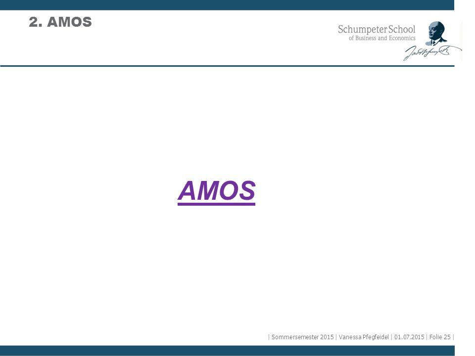 AMOS 2. AMOS | Sommersemester 2015 | Vanessa Pfegfeidel | 01.07.2015 | Folie 25 |