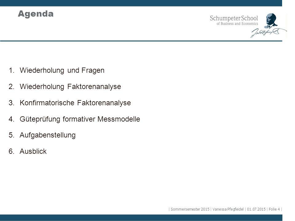 Agenda 1.Wiederholung und Fragen 2.Wiederholung Faktorenanalyse 3.Konfirmatorische Faktorenanalyse 4.Güteprüfung formativer Messmodelle 5.Aufgabenstel