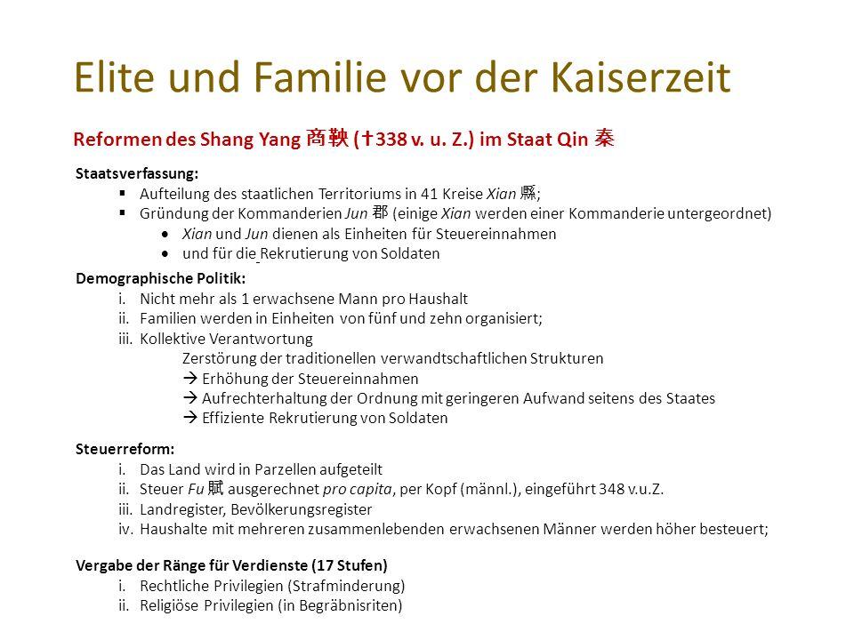 Elite und Familie vor der Kaiserzeit Reformen des Shang Yang 商鞅 (  338 v.