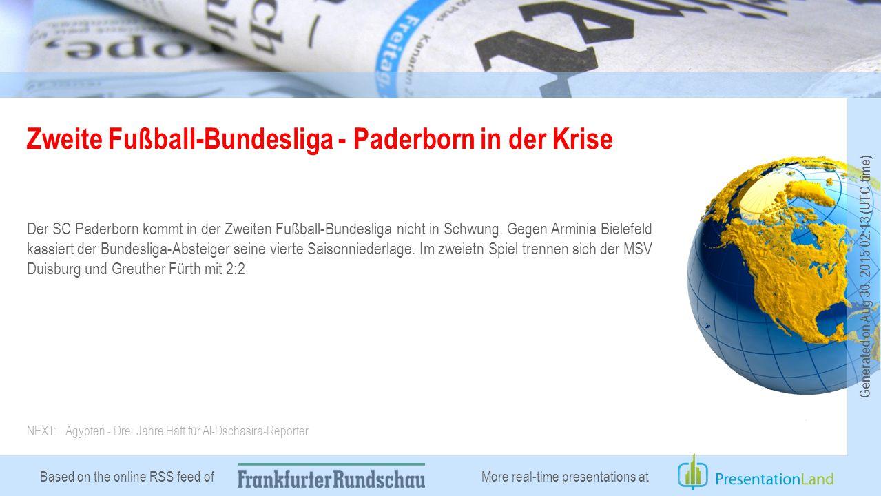 Based on the online RSS feed of Zweite Fußball-Bundesliga - Paderborn in der Krise Der SC Paderborn kommt in der Zweiten Fußball-Bundesliga nicht in Schwung.