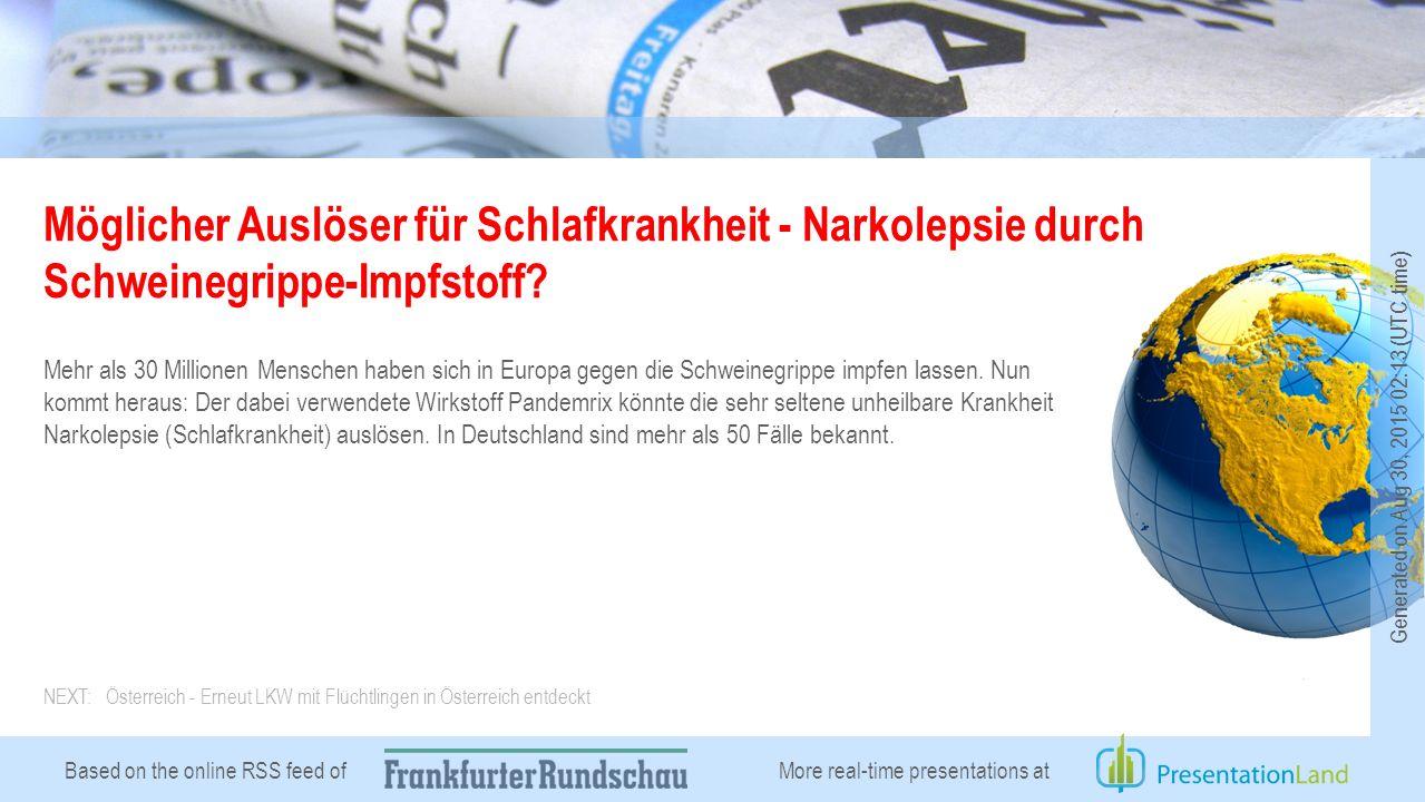 Based on the online RSS feed of Möglicher Auslöser für Schlafkrankheit - Narkolepsie durch Schweinegrippe-Impfstoff.