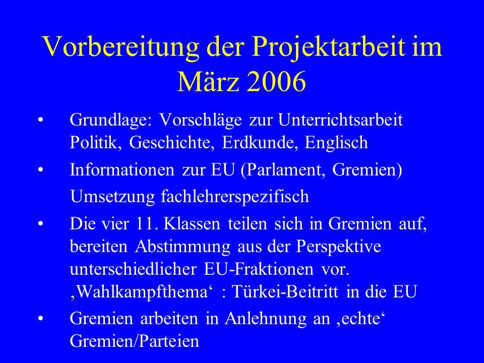 Vorbereitung der Projektarbeit im März 2006 Grundlage: Vorschläge zur Unterrichtsarbeit Politik, Geschichte, Erdkunde, Englisch Informationen zur EU (Parlament, Gremien) Umsetzung fachlehrerspezifisch Die vier 11.