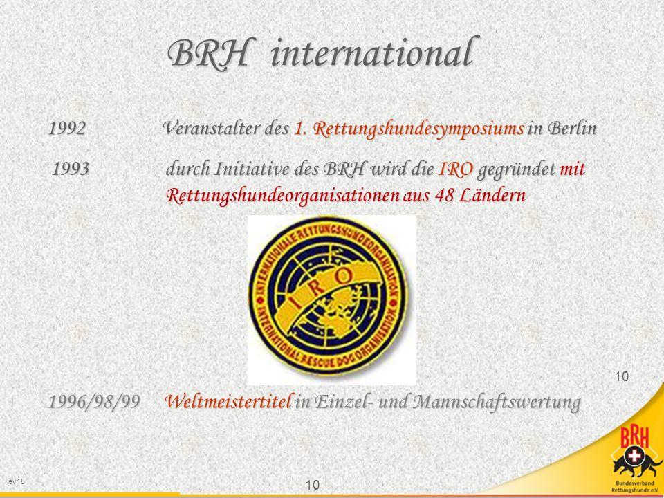 10 ev15 10 BRH international 1992 Veranstalter des 1.