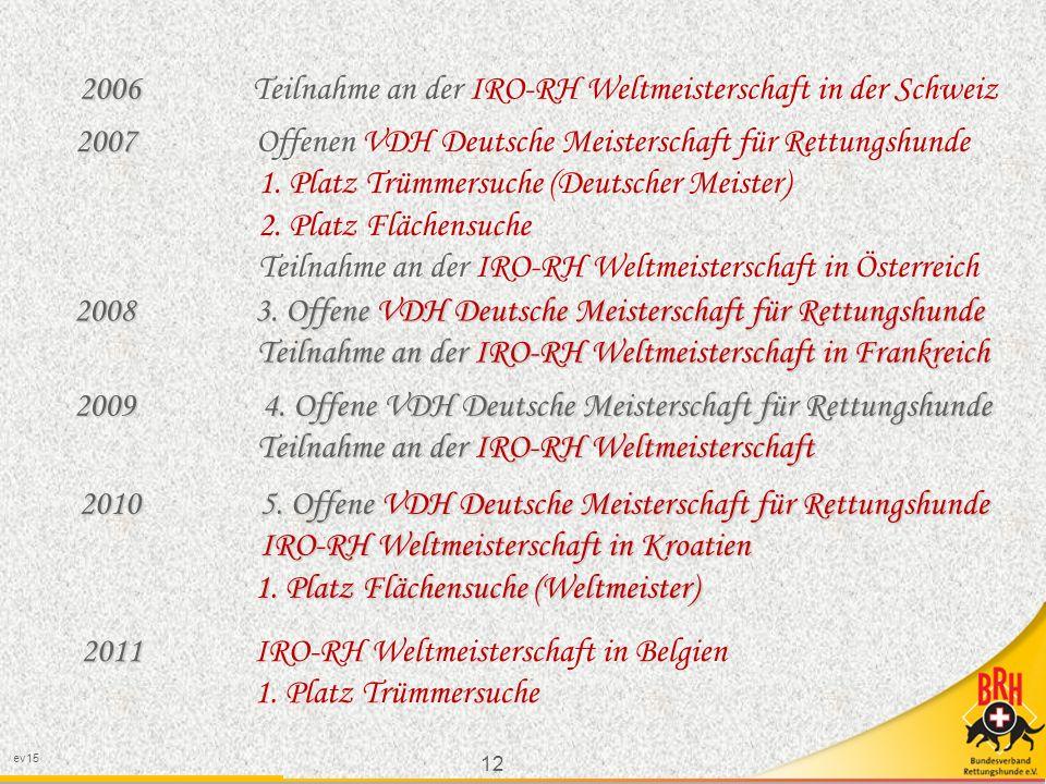 12 ev15 2006 2006 Teilnahme an der IRO-RH Weltmeisterschaft in der Schweiz 2007 2007 Offenen VDH Deutsche Meisterschaft für Rettungshunde 1.