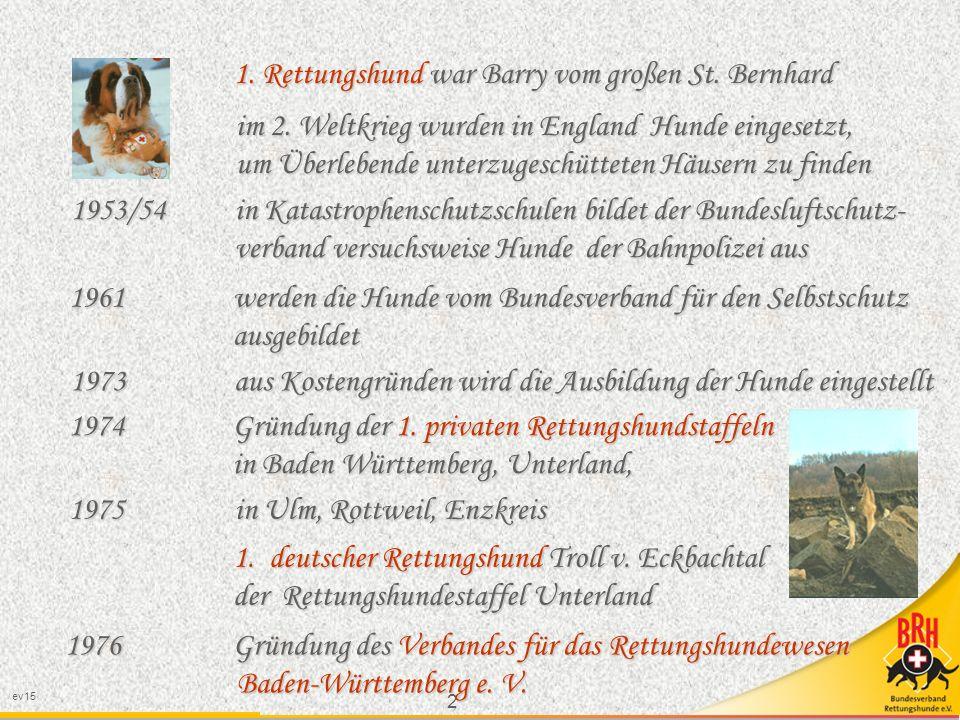 2 1.Rettungshund war Barry vom großen St. Bernhard im 2.