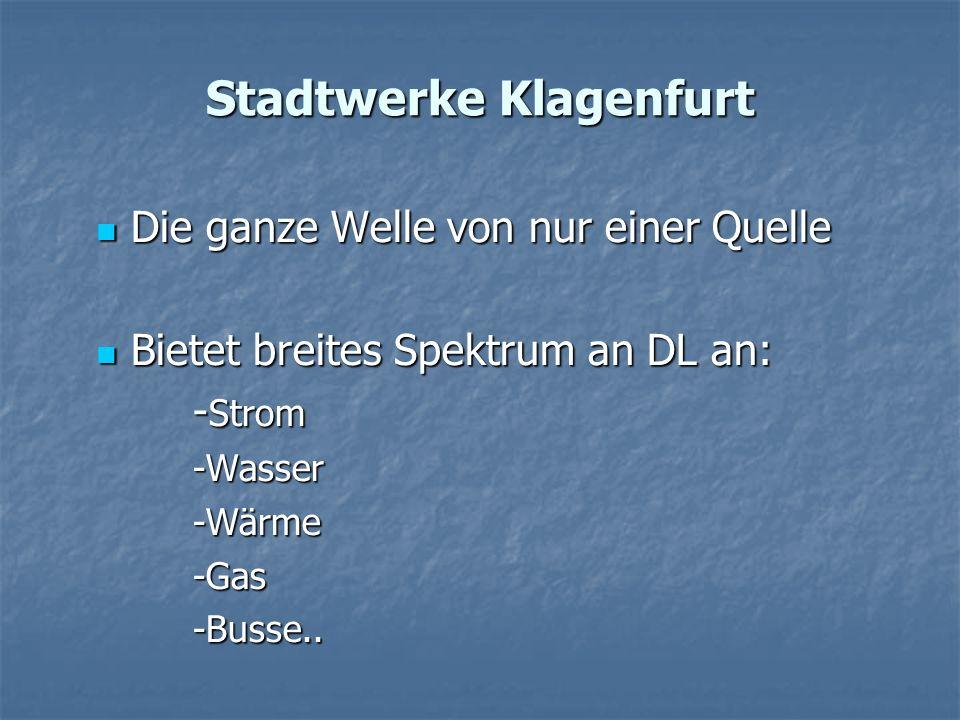 Stadtwerke Klagenfurt Die ganze Welle von nur einer Quelle Die ganze Welle von nur einer Quelle Bietet breites Spektrum an DL an: Bietet breites Spekt