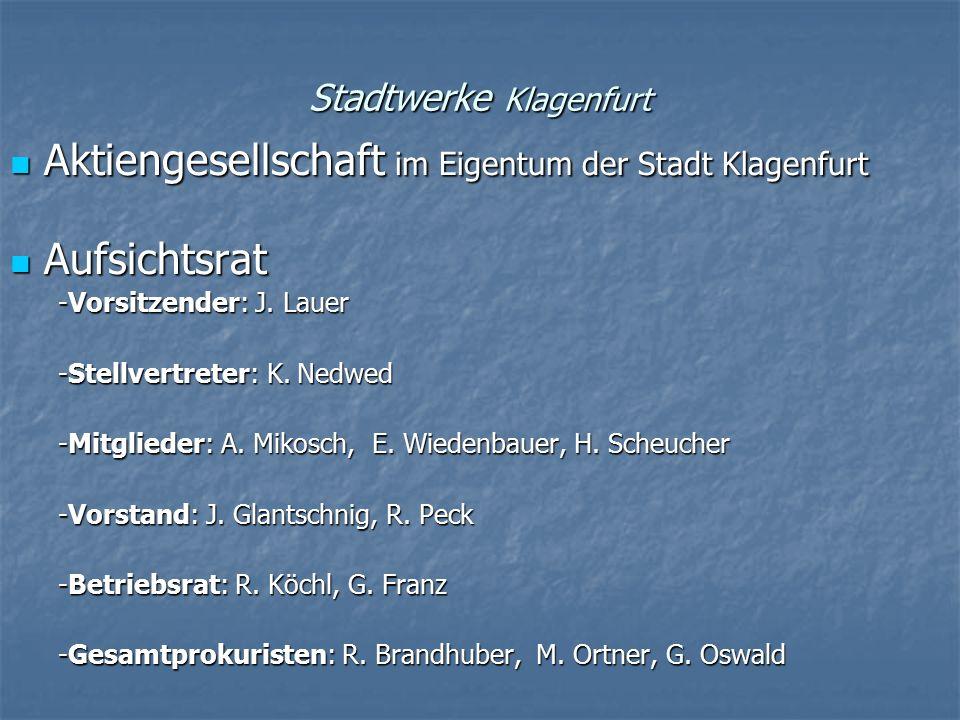 Stadtwerke Klagenfurt Aktiengesellschaft im Eigentum der Stadt Klagenfurt Aktiengesellschaft im Eigentum der Stadt Klagenfurt Aufsichtsrat Aufsichtsra