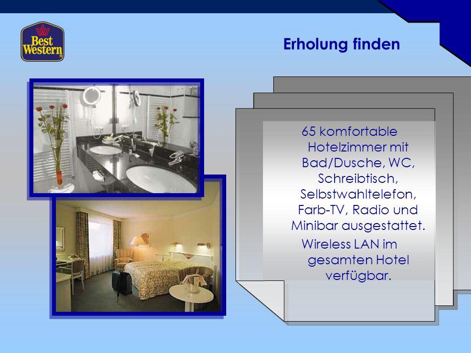 Erholung finden 65 komfortable Hotelzimmer mit Bad/Dusche, WC, Schreibtisch, Selbstwahltelefon, Farb-TV, Radio und Minibar ausgestattet.