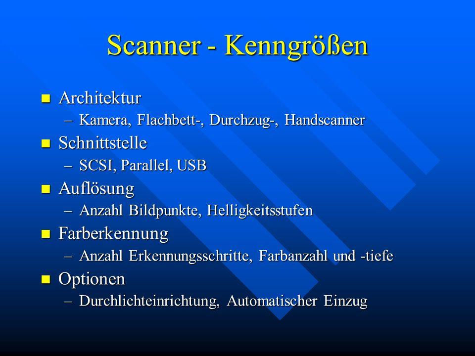 Scanner - Kenngrößen Architektur Architektur –Kamera, Flachbett-, Durchzug-, Handscanner Schnittstelle Schnittstelle –SCSI, Parallel, USB Auflösung Au