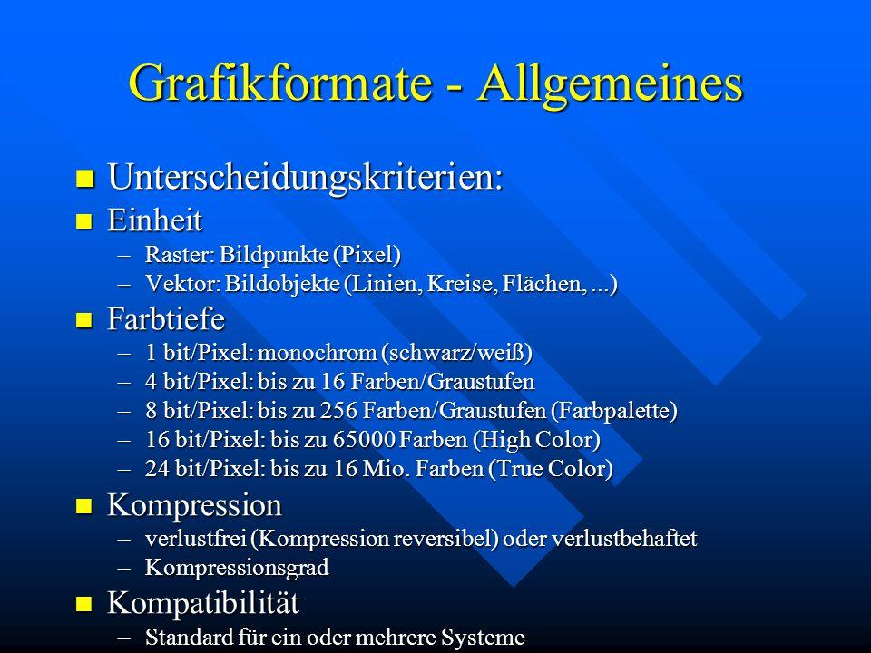 Grafikformate - Allgemeines Unterscheidungskriterien: Unterscheidungskriterien: Einheit Einheit –Raster: Bildpunkte (Pixel) –Vektor: Bildobjekte (Lini