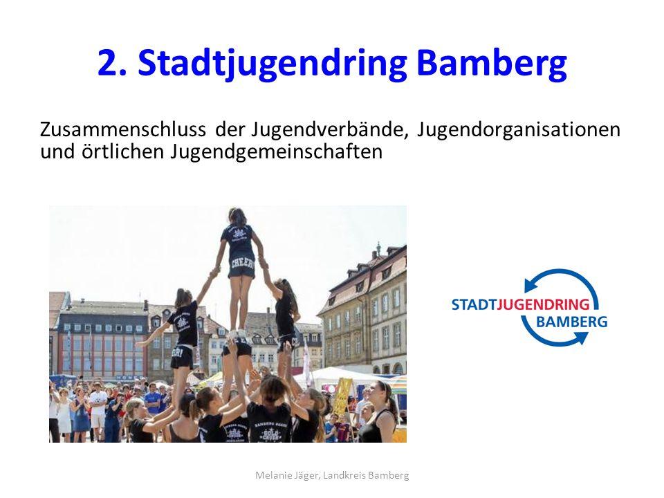 2. Stadtjugendring Bamberg Zusammenschluss der Jugendverbände, Jugendorganisationen und örtlichen Jugendgemeinschaften Melanie Jäger, Landkreis Bamber