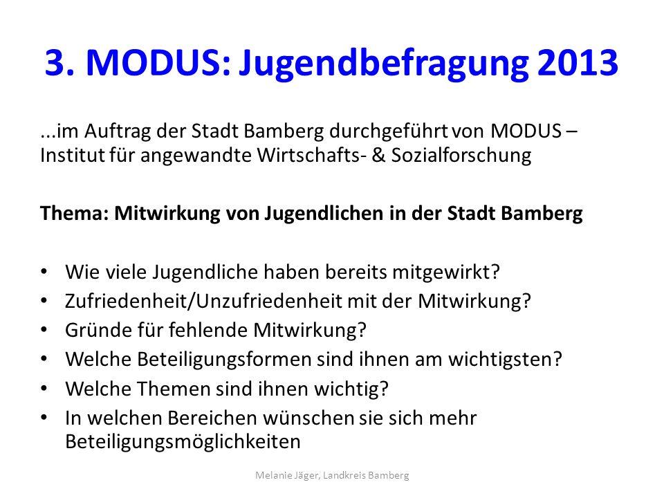 3. MODUS: Jugendbefragung 2013...im Auftrag der Stadt Bamberg durchgeführt von MODUS – Institut für angewandte Wirtschafts- & Sozialforschung Thema: M