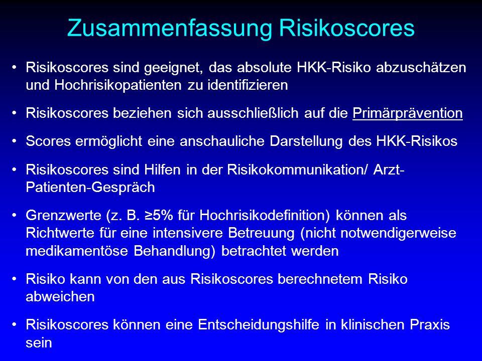 Zusammenfassung Risikoscores Risikoscores sind geeignet, das absolute HKK-Risiko abzuschätzen und Hochrisikopatienten zu identifizieren Risikoscores b
