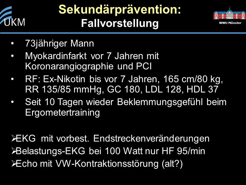 WWU Münster 73jähriger Mann Myokardinfarkt vor 7 Jahren mit Koronarangiographie und PCI RF: Ex-Nikotin bis vor 7 Jahren, 165 cm/80 kg, RR 135/85 mmHg, GC 180, LDL 128, HDL 37 Seit 10 Tagen wieder Beklemmungsgefühl beim Ergometertraining Sekundärprävention: Fallvorstellung  EKG mit vorbest.