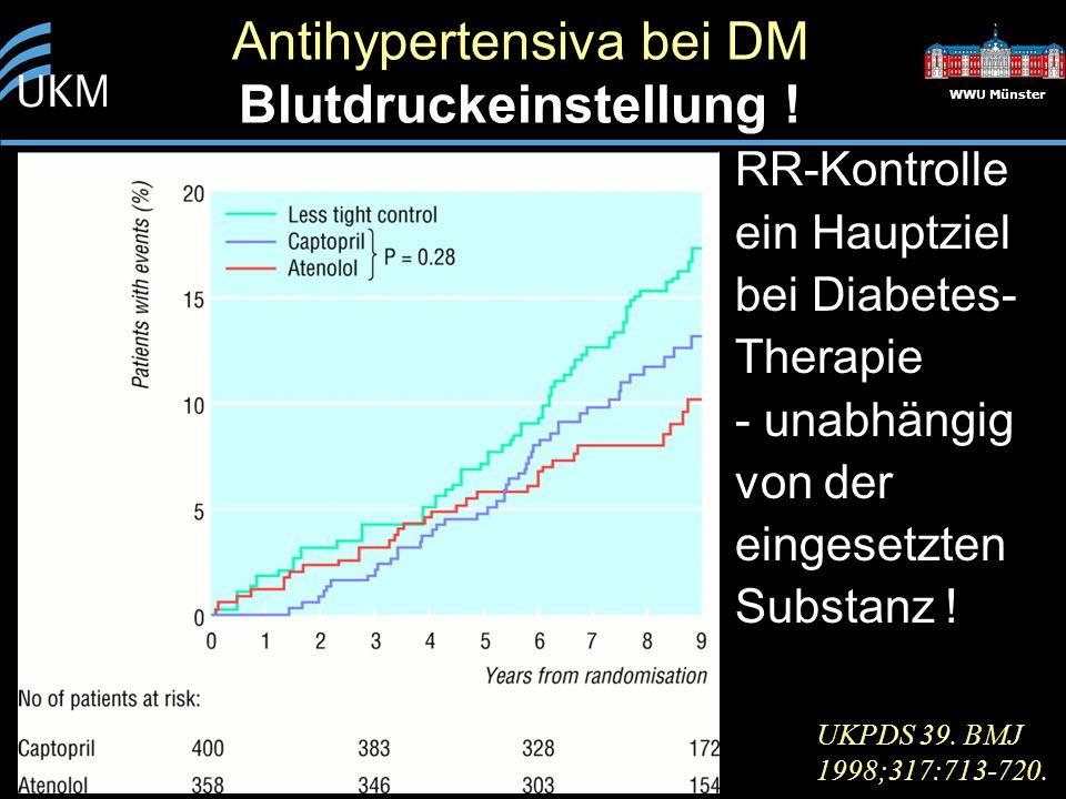 Antihypertensiva bei DM Blutdruckeinstellung ! WWU Münster RR-Kontrolle ein Hauptziel bei Diabetes- Therapie - unabhängig von der eingesetzten Substan
