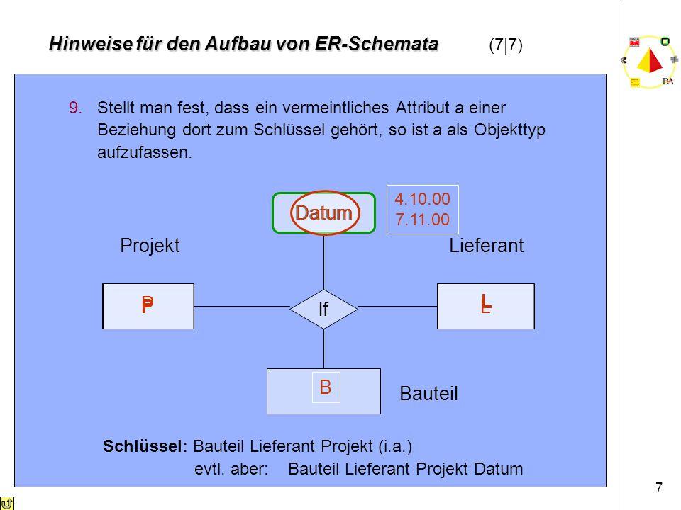7 9.Stellt man fest, dass ein vermeintliches Attribut a einer Beziehung dort zum Schlüssel gehört, so ist a als Objekttyp aufzufassen.