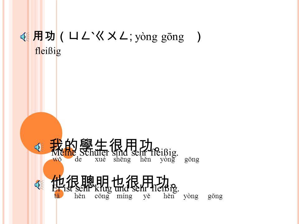 功(ㄍㄨㄥ ; gōng ) 他事業很成功。 tā shì yè hěn chéng gōng 事半功倍。 shì bàn gōng bèi Er hat sehr große Erfolg mit seinen Geschäft.