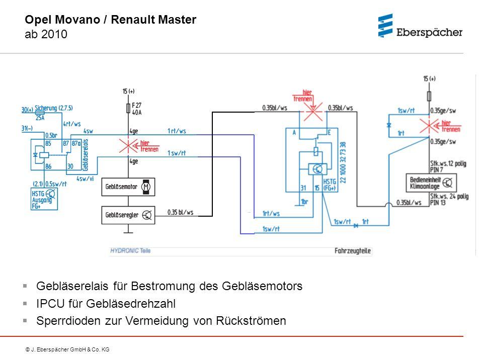 © J. Eberspächer GmbH & Co. KG Opel Movano / Renault Master ab 2010  Gebläserelais für Bestromung des Gebläsemotors  IPCU für Gebläsedrehzahl  Sper