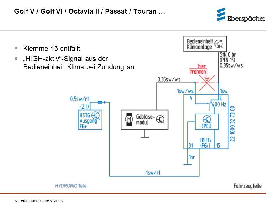"© J. Eberspächer GmbH & Co. KG Golf V / Golf VI / Octavia II / Passat / Touran …  Klemme 15 entfällt  ""HIGH-aktiv""-Signal aus der Bedieneinheit Klim"
