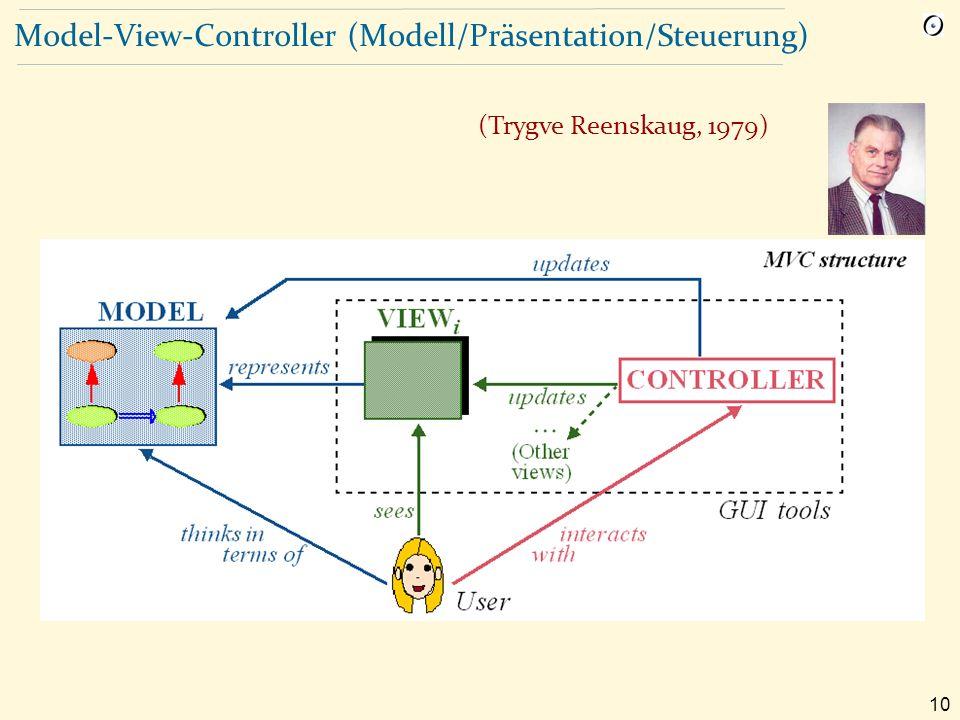 10 Model-View-Controller (Modell/Präsentation/Steuerung) (Trygve Reenskaug, 1979)