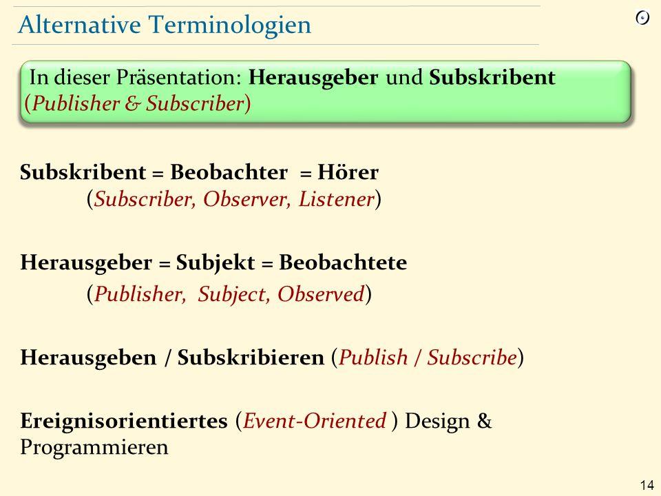 14 Alternative Terminologien Subskribent = Beobachter = Hörer (Subscriber, Observer, Listener) Herausgeber = Subjekt = Beobachtete (Publisher, Subject, Observed) Herausgeben / Subskribieren (Publish / Subscribe) Ereignisorientiertes (Event-Oriented ) Design & Programmieren In dieser Präsentation: Herausgeber und Subskribent (Publisher & Subscriber)