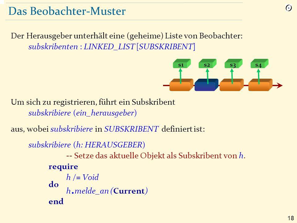 18 Das Beobachter-Muster Der Herausgeber unterhält eine (geheime) Liste von Beobachter: subskribenten : LINKED_LIST [SUBSKRIBENT] Um sich zu registrieren, führt ein Subskribent subskribiere (ein_herausgeber) aus, wobei subskribiere in SUBSKRIBENT definiert ist: subskribiere (h: HERAUSGEBER) -- Setze das aktuelle Objekt als Subskribent von h.