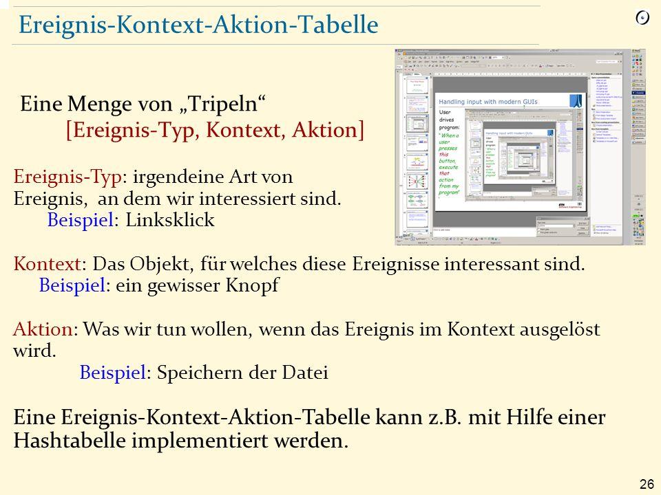 """26 Ereignis-Kontext-Aktion-Tabelle Eine Menge von """"Tripeln [Ereignis-Typ, Kontext, Aktion] Ereignis-Typ: irgendeine Art von Ereignis, an dem wir interessiert sind."""