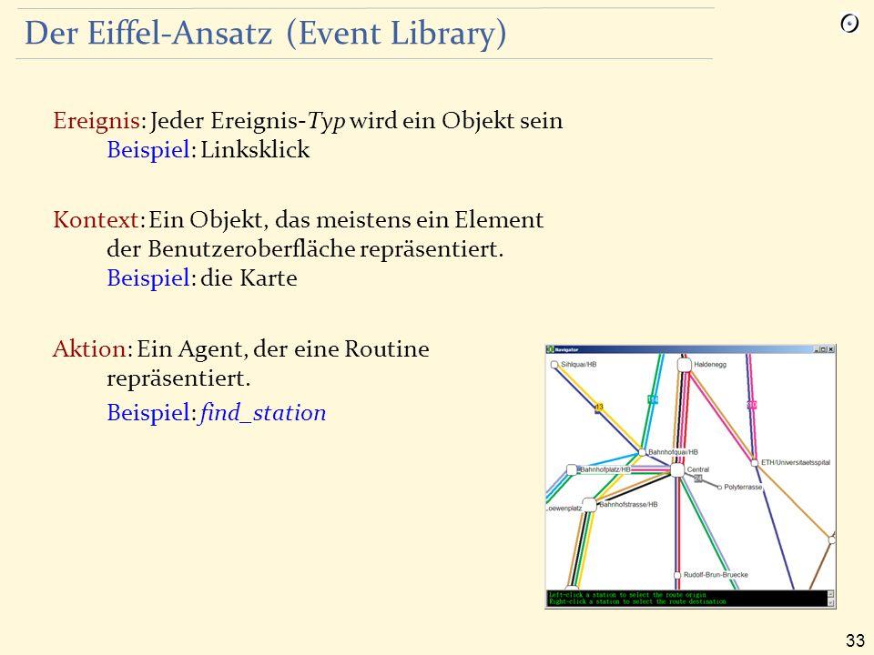 33 Der Eiffel-Ansatz (Event Library) Ereignis: Jeder Ereignis-Typ wird ein Objekt sein Beispiel: Linksklick Kontext: Ein Objekt, das meistens ein Element der Benutzeroberfläche repräsentiert.