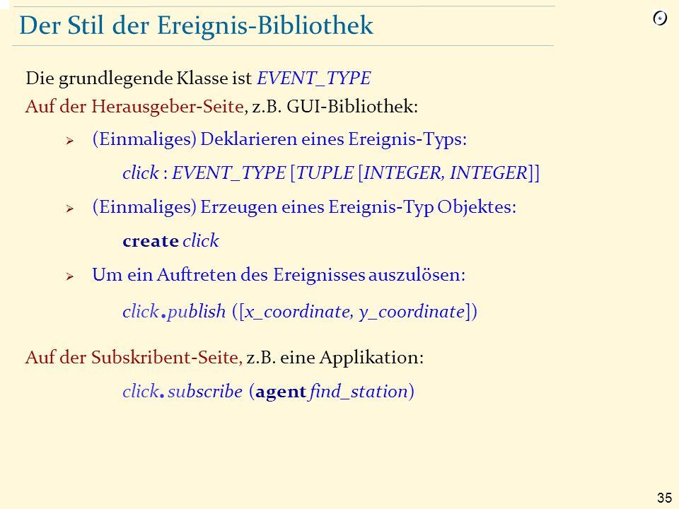 35 Der Stil der Ereignis-Bibliothek Die grundlegende Klasse ist EVENT_TYPE Auf der Herausgeber-Seite, z.B.