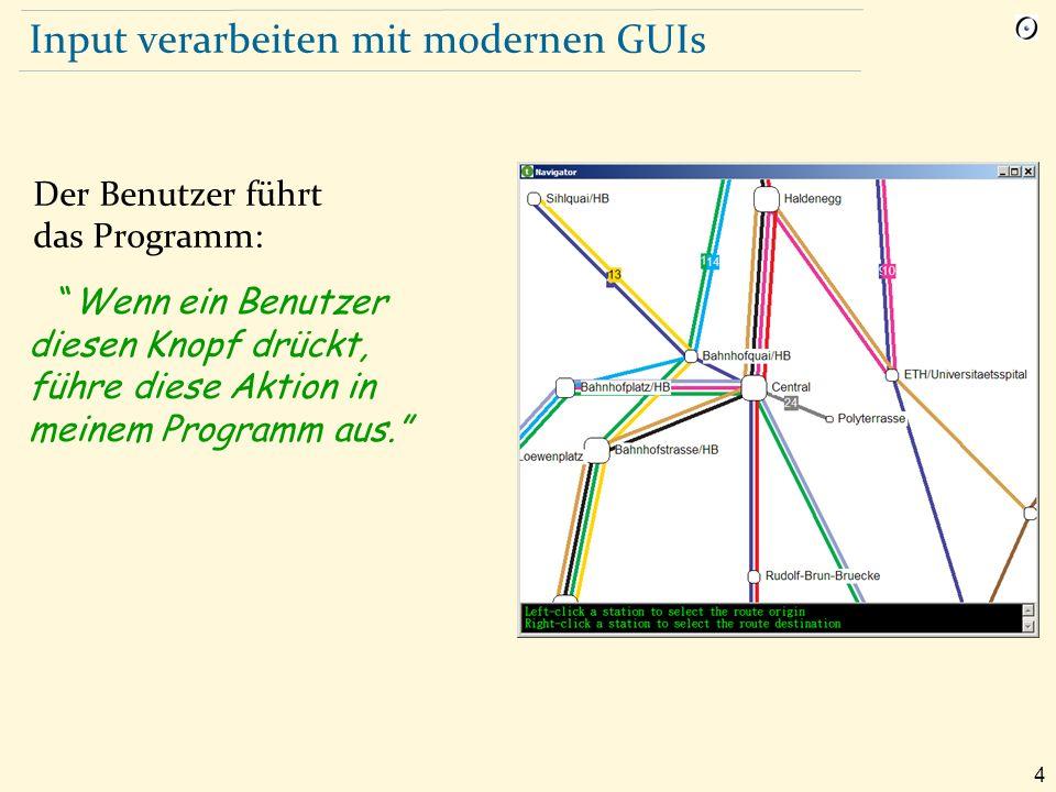 5 Ereignisorientierte Programmierung: Beispiel Spezifizieren Sie, dass, wenn ein Benutzer diesen Knopf drückt, das System find_station (x, y) ausführt, wobei x und y die Mauskoordinaten sind und find_station eine spezifische Prozedur Ihres Systems ist