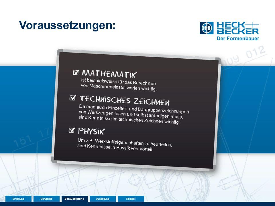 Voraussetzungen: ist beispielsweise für das Berechnen von Maschineneinstellwerten wichtig.