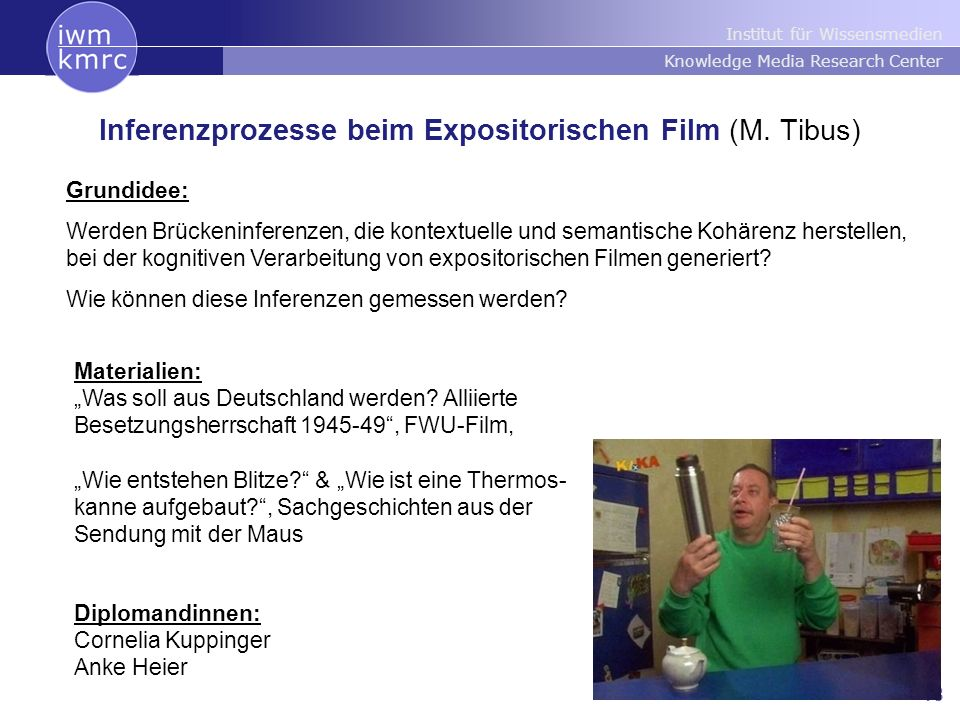 Institut für Wissensmedien Knowledge Media Research Center 18 Inferenzprozesse beim Expositorischen Film (M.