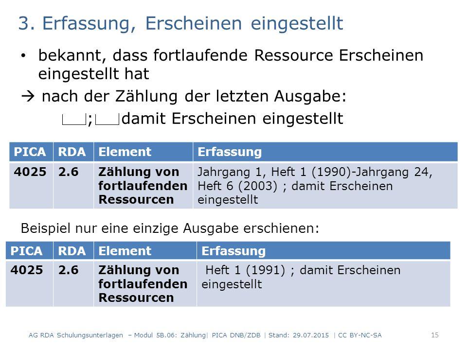 3. Erfassung, Erscheinen eingestellt bekannt, dass fortlaufende Ressource Erscheinen eingestellt hat  nach der Zählung der letzten Ausgabe: ; damit E