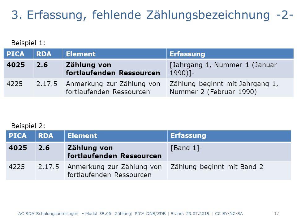 3. Erfassung, fehlende Zählungsbezeichnung -2- Beispiel 1: Beispiel 2: AG RDA Schulungsunterlagen – Modul 5B.06: Zählung| PICA DNB/ZDB | Stand: 29.07.