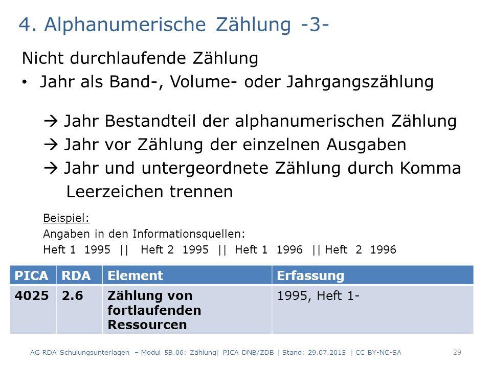 4. Alphanumerische Zählung -3- Nicht durchlaufende Zählung Jahr als Band-, Volume- oder Jahrgangszählung  Jahr Bestandteil der alphanumerischen Zählu