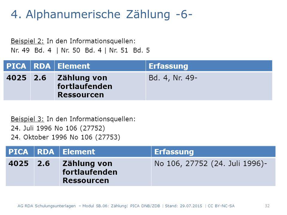 4. Alphanumerische Zählung -6- Beispiel 2: In den Informationsquellen: Nr.