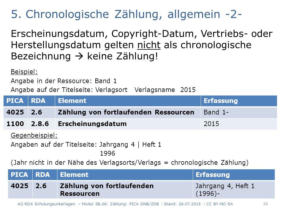 5. Chronologische Zählung, allgemein -2- Erscheinungsdatum, Copyright-Datum, Vertriebs- oder Herstellungsdatum gelten nicht als chronologische Bezeich